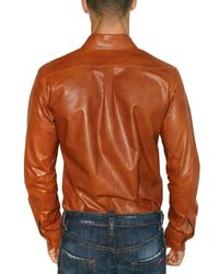 DSquared² | Orange Light Lamb Leather Slim Fit Shirt for Men | Lyst