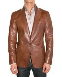 DSquared² | Brown Nappa One Button Leather Jacket for Men | Lyst