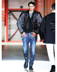 DSquared² - Gray Herringbone and Leather Jacket for Men - Lyst