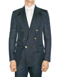 DSquared² | Blue Silk Cotton Double Breasted Jacket for Men | Lyst