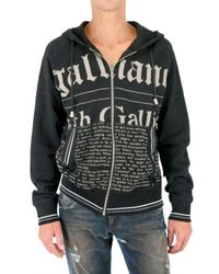 John Galliano | Black Gazette Zipped Fleece Sweatshirt for Men | Lyst
