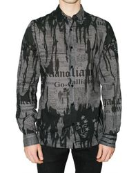 John Galliano | Gray Gazette Print Nainsook Shirt for Men | Lyst