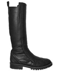 Gareth Pugh | Black Ribbed Padded Lambskin Boots for Men | Lyst