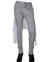 Gareth Pugh - Gray 18cm Silk Chiffon Panneled Denim Jeans for Men - Lyst