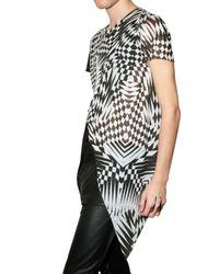 Gareth Pugh - Black Optical Modal Jersey Slit T-shirt for Men - Lyst