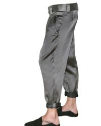 Haider Ackermann   Gray Striped Silk Satin Low Crotch Trousers for Men   Lyst