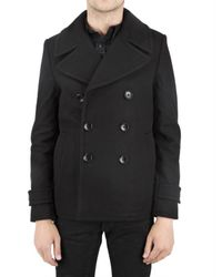 Izzue | Black Boiled Wool Pea Coat for Men | Lyst