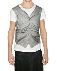 John Galliano | White Trompe Loeil Vest Print Jersey T-shirt for Men | Lyst