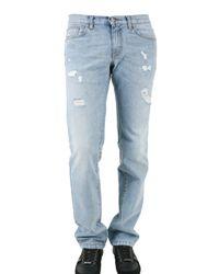John Richmond | Blue 18 Cm Hem Destroyed Denim Jeans for Men | Lyst