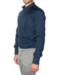 Maurizio Miri - Blue Poplin Snap Button-down Shirt for Men - Lyst