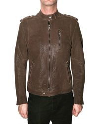 Meatpacking D | Brown Biker Embossed Calf Leather Jacket for Men | Lyst
