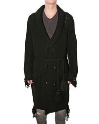 Miharayasuhiro - Black Destroy Knit Long Cardigan Sweater for Men - Lyst
