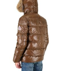 Pyrenex - Brown Fur Hood Quilted Sport Jacket for Men - Lyst