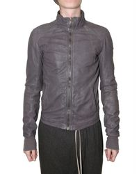 Rick Owens | Gray Intarsia Leather Jacket for Men | Lyst
