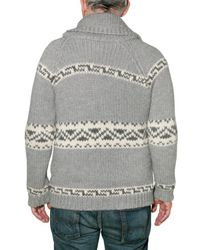 Roberto Collina - Gray Jacquard Knit Cardigan Sweater for Men - Lyst