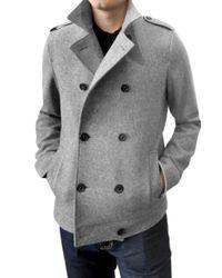 Simon Spurr | Gray Wool Peacoat for Men | Lyst