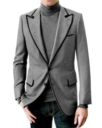 Simon Spurr | Gray Piped Flannel Tuxedo Jacket for Men | Lyst