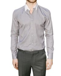 Z Zegna - Gray Contrasting Collar Checked Twill Shirt for Men - Lyst