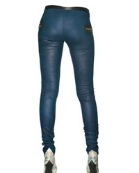 Les Chiffoniers | Blue Python Printed Leather Leggings | Lyst
