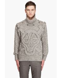 Alexander McQueen | Gray Hooded Skull Sweater for Men | Lyst