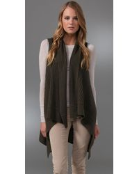 Alice + Olivia   Green Stonewashed Ribbed Vest with Buttons   Lyst