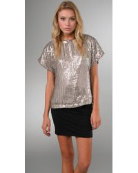 Alice + Olivia | Metallic Keren Sequined Silk Top | Lyst