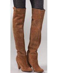 American Retro - Brown Jill Suede Over The Knee Boots - Lyst
