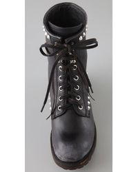 Ash - Black Studded Leather Ralf Lace-up Boots - Lyst