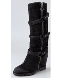 Ash | Black Story Suede Wedge Engineer Boots | Lyst