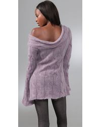 Catherine Malandrino | Purple Cable Knit Off Shoulder Sweater | Lyst