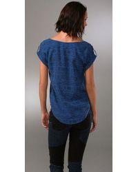Dolce Vita - Blue Mudcloth Print Silk Top - Lyst