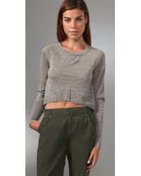 Dolce Vita - Gray Baby Alpaca Cropped Sweater - Lyst