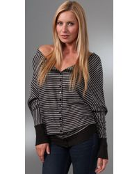 Enza Costa - Gray Cashmere Reversible Cardigan - Lyst