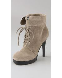 Giuseppe Zanotti - Green Lace Up Suede Booties On Platform - Lyst