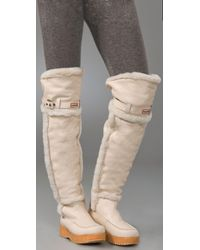 HUNTER   Natural Cervina Over-the-knee Shearling Boots   Lyst