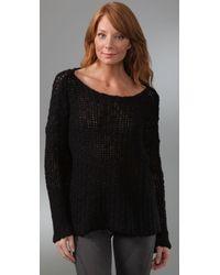 James Perse - Black Open Stitch Boxy Sweater - Lyst
