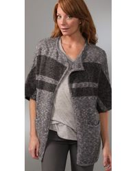 James Perse - Gray Striped Blanket Cardigan - Lyst