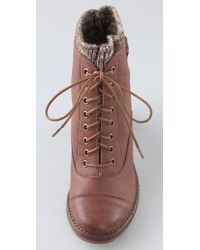 Jeffrey Campbell - Brown Sweat Lace Up Booties with Knit Cuff - Lyst