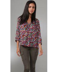 Joie   Pink Calabasas Magpie Floral Print Top   Lyst