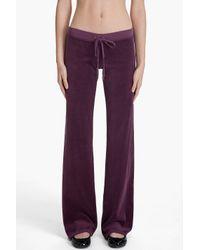 Juicy Couture | Purple Velour Basic Original Leg Pant | Lyst