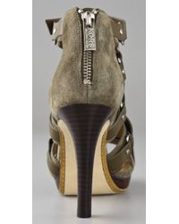 Kors by Michael Kors - Green Bixby Suede High Heel Sandals - Lyst