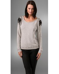 Leyendecker | Gray Pullover Top with Embellished Shoulders | Lyst
