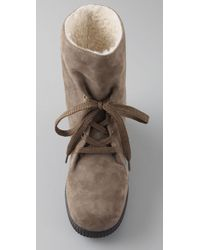 Marc By Marc Jacobs | Natural Lace Up Suede Booties | Lyst