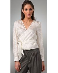 See By Chloé - White Long Sleeve Wrap Blouse - Lyst