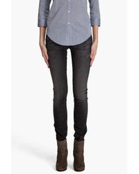 7 For All Mankind | Roxanne Black Oil Stain Jeans | Lyst