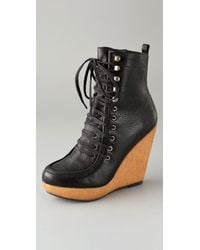 Steven by Steve Madden | Black Narri Lace Up Wedge Booties | Lyst