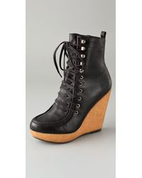 Steven by Steve Madden - Black Narri Lace Up Wedge Booties - Lyst