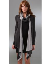 Three Dots - Gray Draped Cardigan with Removable Scarf - Lyst