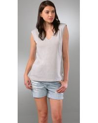 Three Dots | Gray Colette Muscle Tee with Shoulder Pads | Lyst