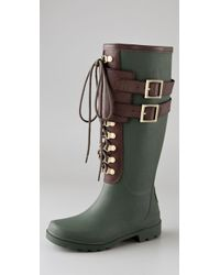 Tory Burch | Green Buckled Rubber Rain Boots | Lyst